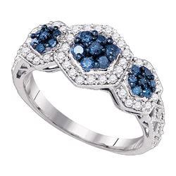 0.75 CTW Blue Color Diamond Flower Cluster Ring 10KT White Gold - REF-37N5F