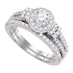 1 CTW Diamond Halo Bridal Engagement Ring 14KT White Gold - REF-149K9W