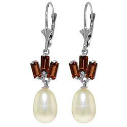 Genuine 9.35 ctw Pearl & Garnet Earrings Jewelry 14KT White Gold - REF-26R6P