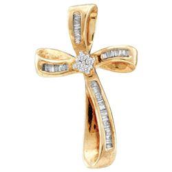0.25 CTW Diamond Cross Faith Pendant 14KT Yellow Gold - REF-16X4Y