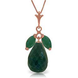 Genuine 9.3 ctw Green Sapphire Corundum & Emerald Necklace Jewelry 14KT Rose Gold - REF-30N2R