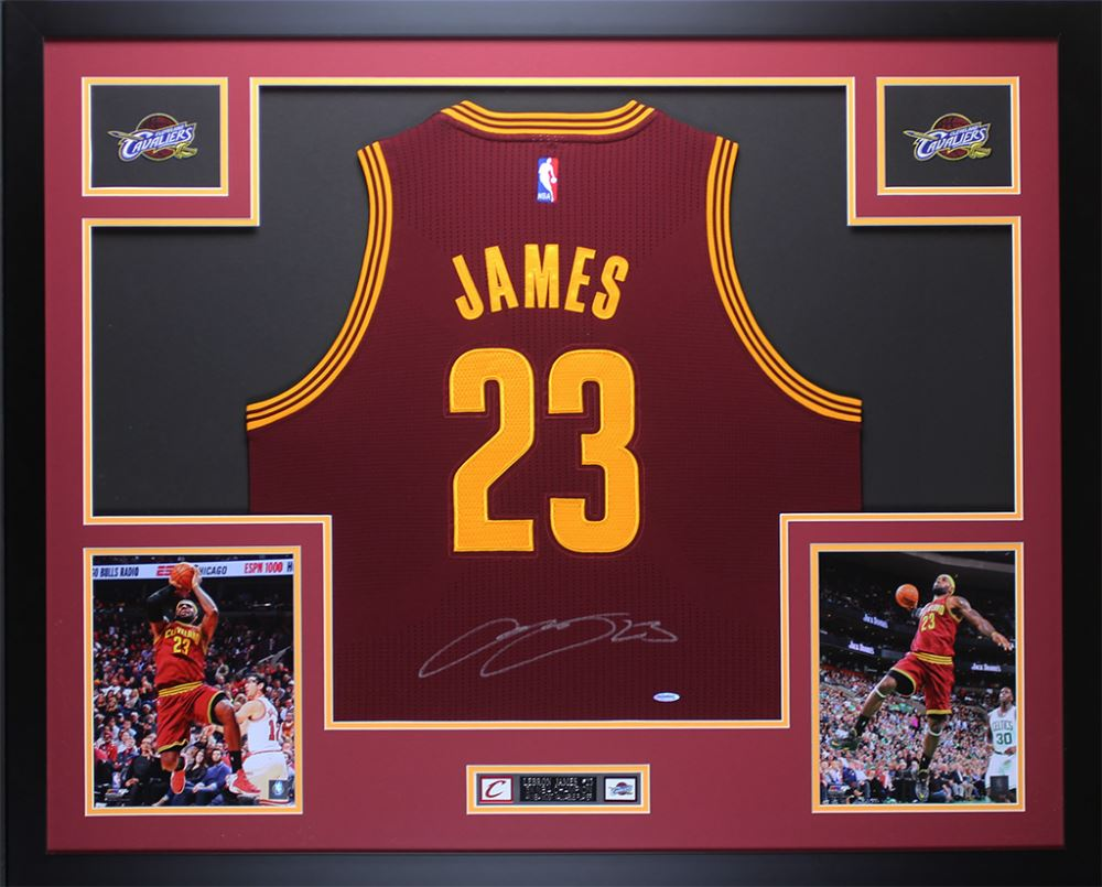 timeless design 2a430 f2759 LeBron James Signed Cavaliers 35x43 Custom Framed Jersey