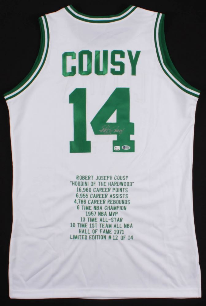 0af96a9f9 Image 1   Bob Cousy Signed Celtics Career Highlight Stat Jersey (Beckett  COA)