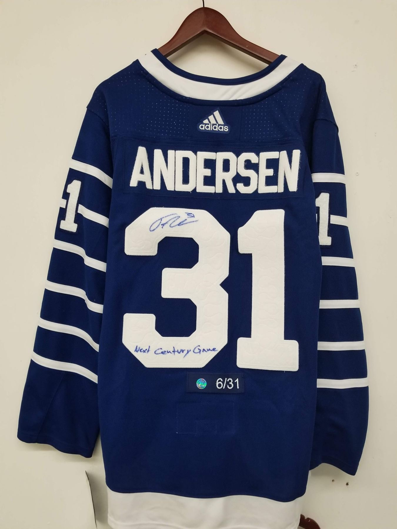 the best attitude 0509b bbd0d FREDERICK ANDERSEN SIGNED TORONTO ARENAS THROWBACK HOCKEY JERSEY W/ COA