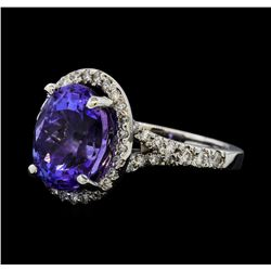 5.65 ctw Tanzanite and Diamond Ring - 14KT White Gold