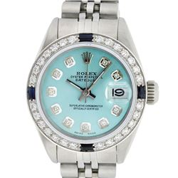 Rolex Ladies Stainless Steel Ice Blue Diamond & Sapphire Datejust Wristwatch