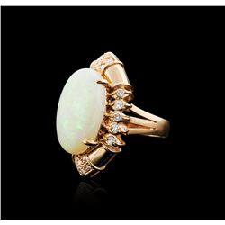 14KT Rose Gold 14.82 ctw Opal and Diamond Ring