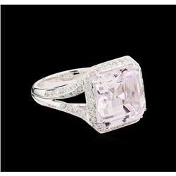 9.61 ctw Kunzite and Diamond Ring - 18KT White Gold