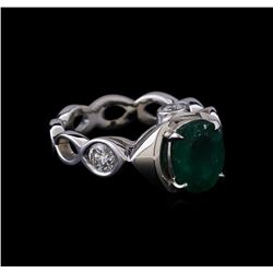 1.59 ctw Emerald and Diamond Ring - 14KT White Gold