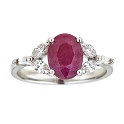 2.98 ctw Ruby and Diamond Ring - 18KT White and Yellow Gold