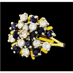 1.50 ctw Sapphire and Diamond Ring - 14KT Yellow and White Gold