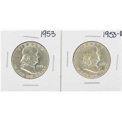 Lot of 1953 & 1953-D Franklin Half Dollar Silver Coins