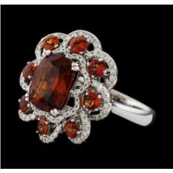 3.89 ctw Red Spinel, Garnet and Diamond Ring - 14KT White Gold