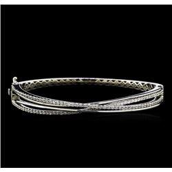 1.25 ctw Diamond Bangle Bracelet - 14KT White Gold