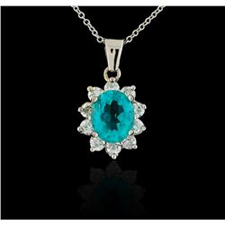 3.04 ctw Apatite and Diamond Pendant With Chain - 14KT White Gold