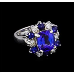 3.65 ctw Tanzanite, Sapphire and Diamond Ring - 14KT White Gold