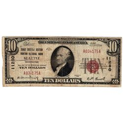 1929 $10 Seattle WA National Currency Note Charter #11280