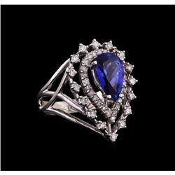14KT White Gold 2.65 ctw Tanzanite and Diamond Ring