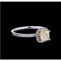 1.28 ctw Fancy Light Yellow Diamond Ring - 14KT Two-Tone Gold