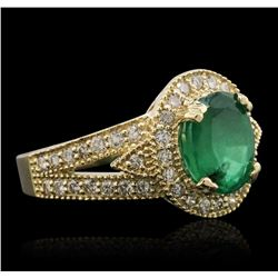 14KT Yellow Gold 2.05 ctw Emerald and Diamond Ring