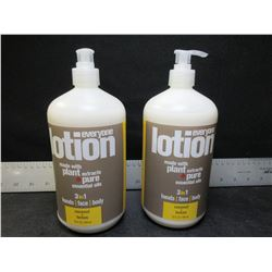 2  New everyone Lotion coconut + lemon 32floz each - 3 in 1 hand/face/body
