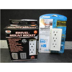 2 New 6 outlet sockets one is a swivel mount socket / surge protectors