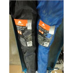 2 Ozark Trail folding arm chairs / great for camping / 1 blue 1 black