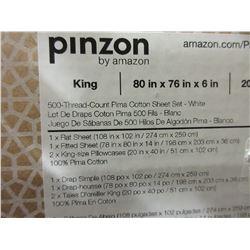 New Pinzon King Size Sheet Set / 500 thread ct. / 4 piece 100% Pima Cotton