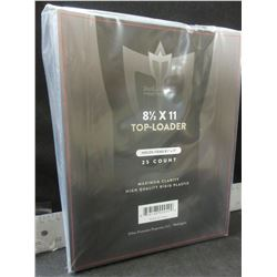 New 25 count 8 1/2 x 11 top-loader rigid clear plastic sleeves