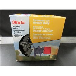 New Strata Heavy Duty Clothsline Kit / 150ft pvc coated cable makes 75ft