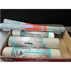 "Lot of 5 New Drawer/shelf  Liners / 3 rolls easy liner 12"" x 8 ft / 2 rolls 18"""