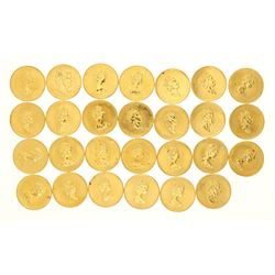 COINS:  [27]  Canadian Gold Maple Leaf fifty dollar 1 ounce (.999) fine gold coins;  [assorted dates