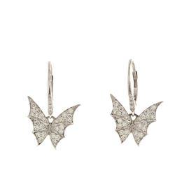 EARRINGS: 18k white gold earrings, (52) round brilliant cut diamonds, 1.1mm-1.5mm = an estimated  0.