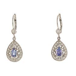 EARRINGS: 18k white gold earrings: (2) pear cut Tanzanite, 6.2mm x 4.0mm = an estimated  0.89 total