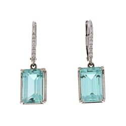 EARRINGS: 18k white gold earrings; (2) emerald cut light blue-green tourmaline, 11.26mm x 7.03mm = a