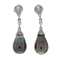 EARRINGS: 18k white gold earrings, (2) Tahitian black cultured pearls, 14.9mm x 10.5mm; (34) round b