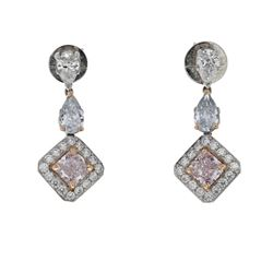 EARRINGS: Platinum earrings; (2) pear cut diamonds, 5.4mm x 3.5mm = an estimated  0.50 total carat w
