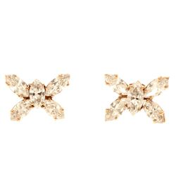 EARRINGS:  [1 pair] 18 karat rose gold butterfly motif earrings set with 10 marquise cut diamonds, a