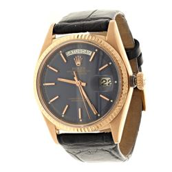 WATCH:  [1] 18 karat rose gold gents Rolex Oyster Perpetual Day-Date President watch with a matte bl