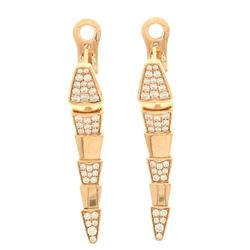 EARRINGS:  [1 pair] 18 karat pink gold Bvlgari Serpenti earrings set with 72 round diamonds, approx.