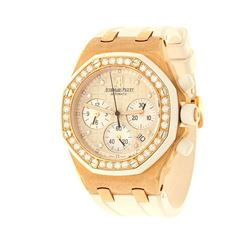 WATCH:  [1] 18 karat rose gold Audemars Piguet Royal Oak Offshore Chronograph wristwatch, 37mms, whi