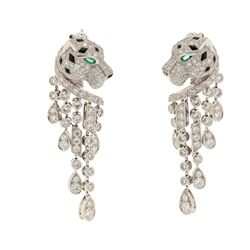 EARRINGS:  [1 pair] Platinum Cartier Panthere earrings set with 310 round diamonds, approx. 5.63 car