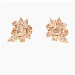 EARRINGS:  [1 pair] 18 karat rose gold earrings set with 3 marquise, 3 cushion, 7 pear shaped and 5