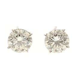 EARRINGS:  [1 pair] 18 karat white gold earrings with Martini settings, set with round brilliant dia
