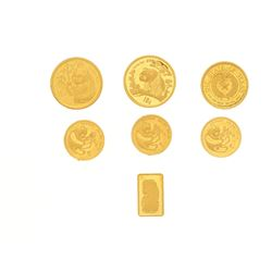 COINS: (3) 24kYG Panda gold coins, 1/20 oz. each. Coins: (2) 24KY Panda gold coins, 1/10 oz, each (1