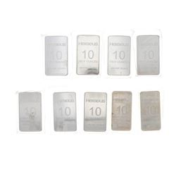BULLION: (7) Heraeus 10 troy ounce .999 fine silver bars BULLION: (1) Heraeus 10 troy ounce .999 fin