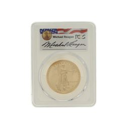 COIN: [1] 1987 $50 Reagan Legacy Series gold coin; PCGS MS 69, 32970705