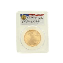 COIN: [1] 1990-W $50 Reagan Legacy Series gold coin; PCGS PR 69, 80875863