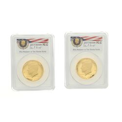 COINS: [2] 2014-W 50th Anniversary-Camelot Kennedy half-dollar gold coins; PCGS PR 70, 30708495; 306