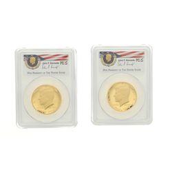 COINS: [2] 2014-W 50th Anniversary-Camelot Kennedy half-dollar gold coins; PCGS PR 70, 30708495; 306